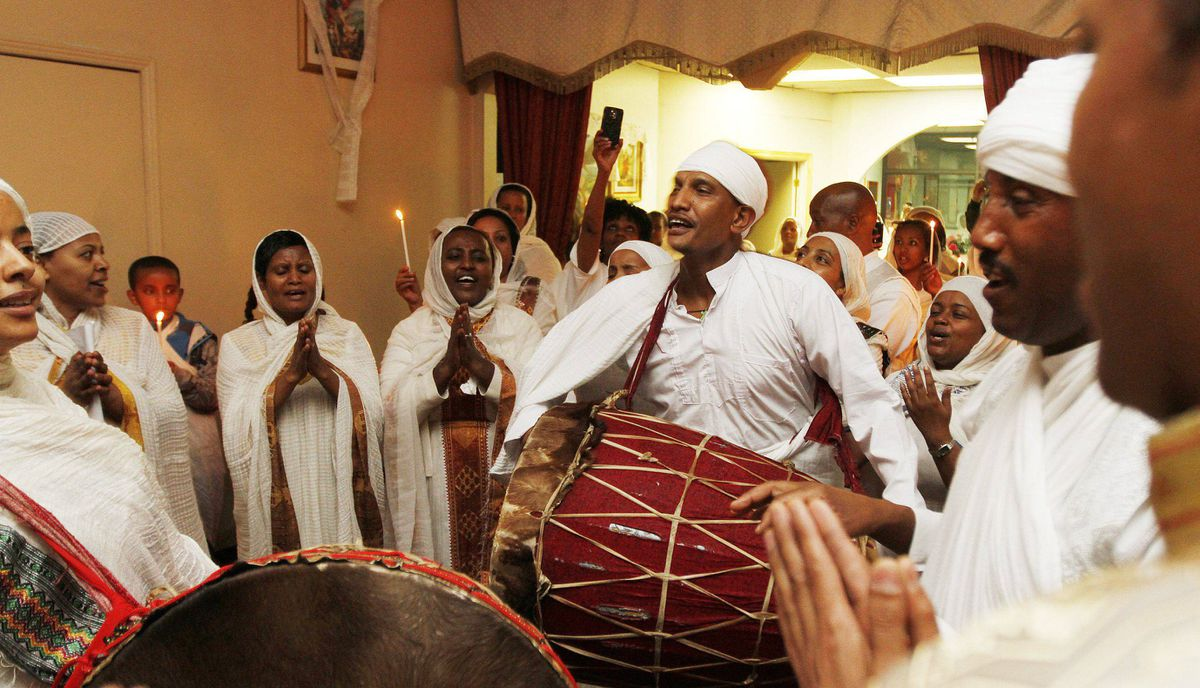 Members of the Ethiopian Community from GTA take part on the celebration of Ethiopian Easter, or Fasika, at the St. Mary's Ethiopian Orthodox church on Tycos Drive, Toronto April 14, 2012, Photo by: