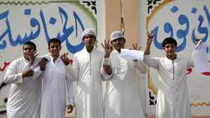 Saudi students react after their literature exam outside Othman Bin Afan school in Jeddah, in this 2007 file photo.