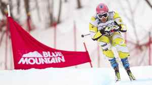 Brian Bennett of Canada catches some air during his qualifying run at the FIS Ski Cross World Cup at Blue Mountain in Collingwood, Ontario February 2, 2012. Bennett was 34th in qualifying.