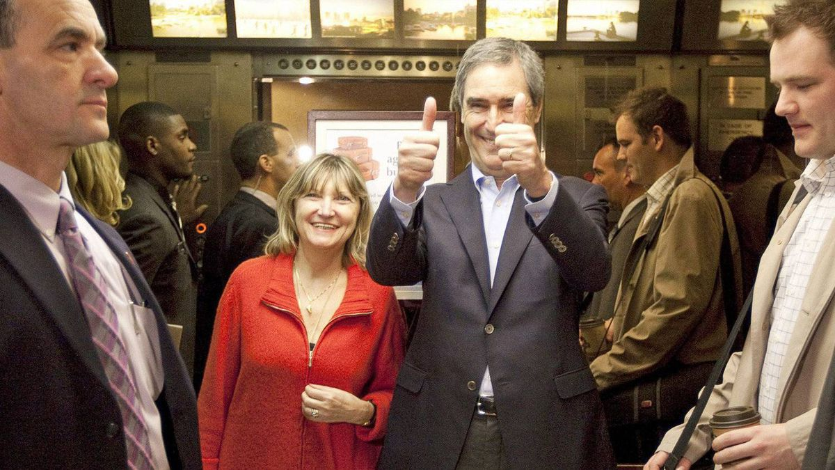 Liberal Leader Michael Ignatieff gives the thumbs up as he and his wife Zsuzsanna Zsohar take the elevator after a campaign stop in Winnipeg on April 19, 2011.