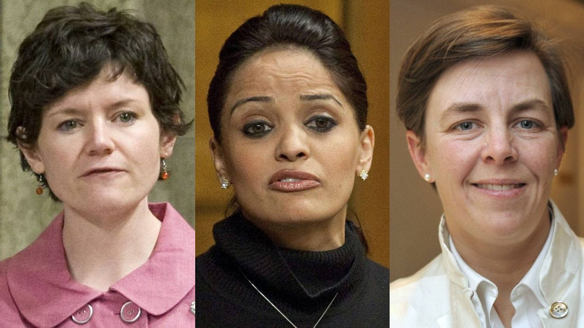 A combination photograph of New Democrat Megan Leslie, Liberal Ruby Dhalla and Conservative Kellie Leitch.