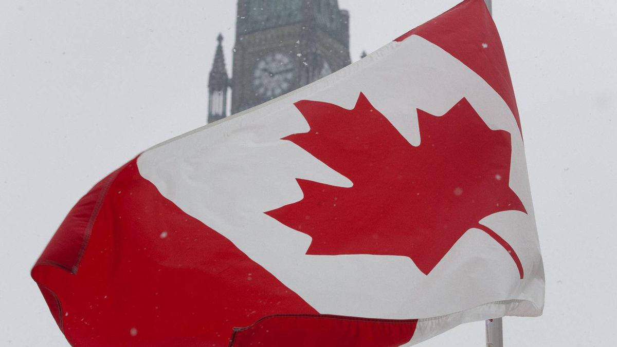 As part of National Flag day, a Canadian Maple Leaf flag flies near the Peace tower on Parliament Hill in Ottawa, Feb.15, 2012.
