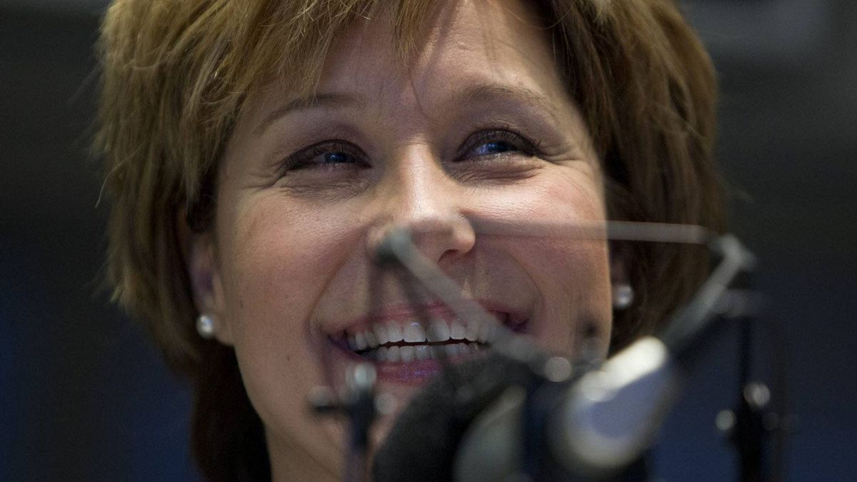 British Columbia Premier Christy Clark takes part in a local radio program in downtown Vancouver, Monday, Feb. 13, 2012. Clark went to the radio station to reach out to the public and outline the government`s agenda for the spring session.