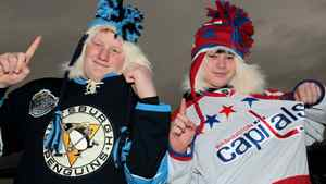 Fans Bryce Mathers and Robbie Yahner show support for the Pittsburgh Penguins and the Washington Capitals prior to the start of the 2011 NHL Bridgestone Winter Classic at Heinz Field on January 1, 2011 in Pittsburgh, Pennsylvania. (Photo by Jamie Squire/Getty Images)