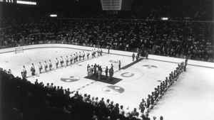 Team Canada and the Soviet Union line up for the National Anthems before start of the first game in the eight-game 1972 Canada-Russia series at the Forum in Montreal.