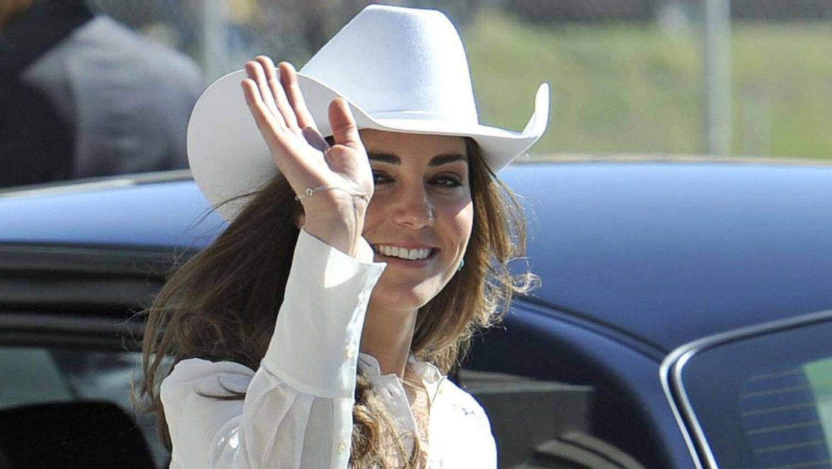 Catherine, Duchess of Cambridge, leaves after watching the beginning of the Calgary Stampede parade in Calgary, Alberta, July 8, 2011.