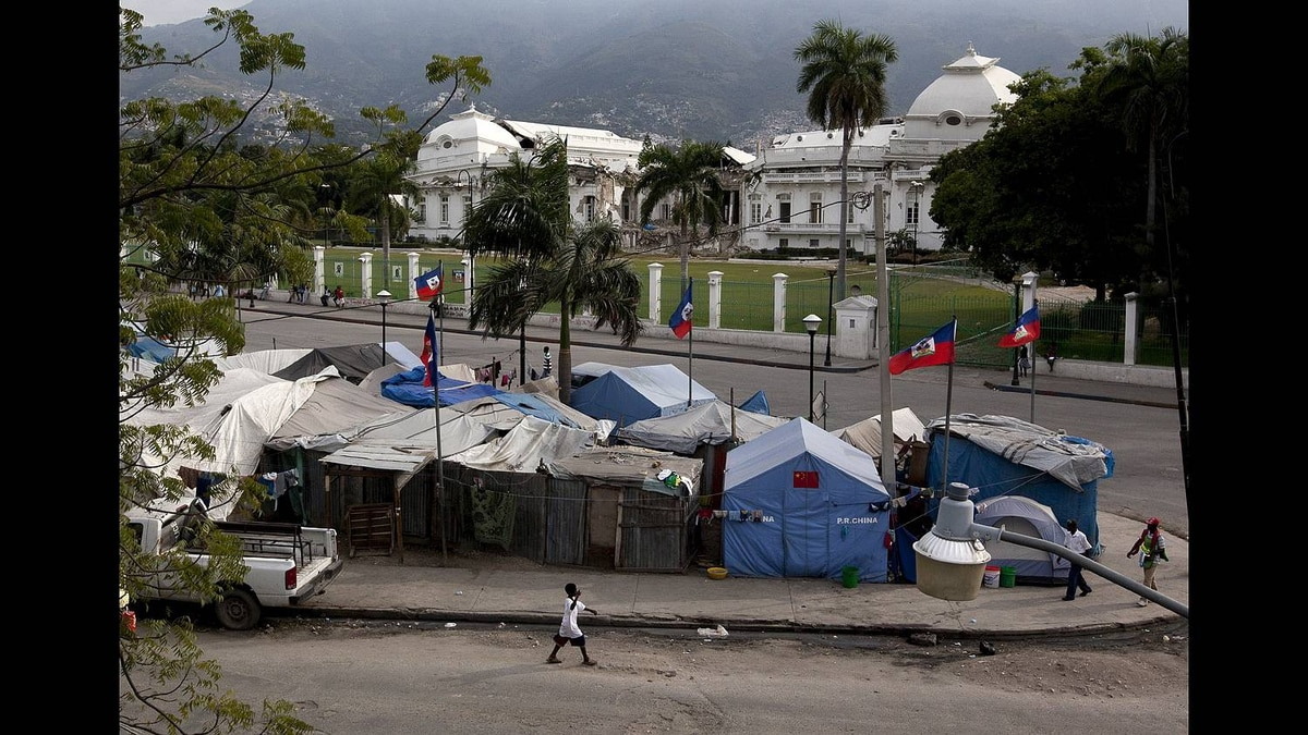 The Champ des Mars area still has displaced persons camps surrounding the severely damaged Presidential Palace in Port-au-Prince, Haiti.