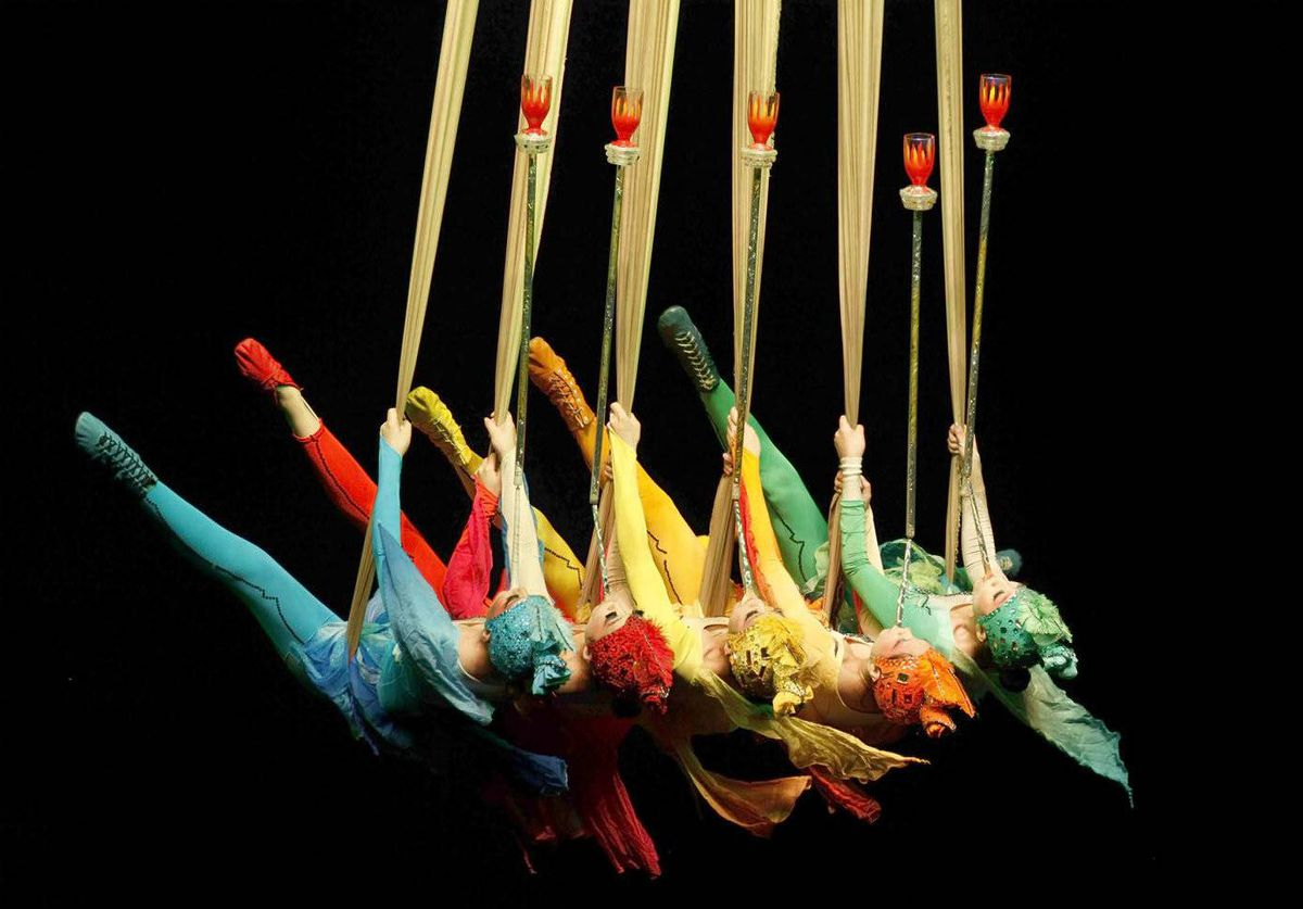 Acrobats from the Shenyang Acrobatic Troupe (Circus of China) perform during a rehearsal of Sky Mirage II in Sao Paulo, Brazil.
