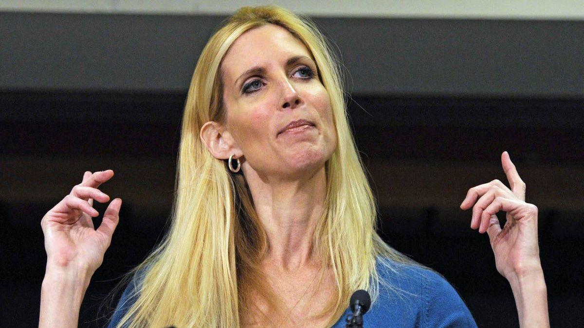 Conservative pundit Ann Coulter speaks in Calgary on Thursday.