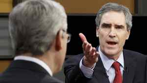 Liberal Leader Michael Ignatieff and his Conservative rival, Stephen Harper, square off in the 2011 English-language leaders' debate in Ottawa.