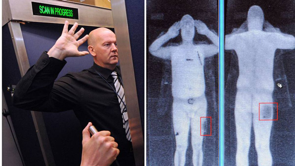 This file combination of images taken on October 13, 2009 shows an airport staff member demonstrating a full body scan at Manchester Airport in Manchester, northwest England, and a computer screen showing the results of a full body scan.