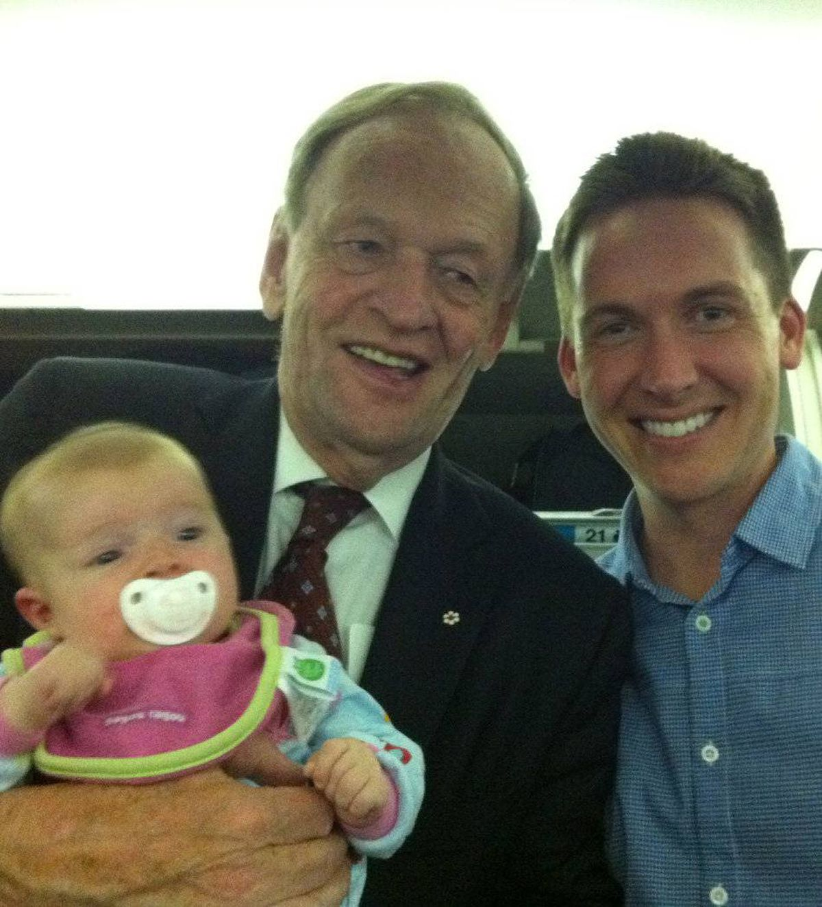 When returning from our first family vacation with our three month old daughter, we ran into Jean Chretien on a Westjet flight...