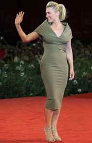 """Actress Kate Winslet wore olive to the premiere of """"Carnage"""" at the Venice Film Festival on Thursday."""