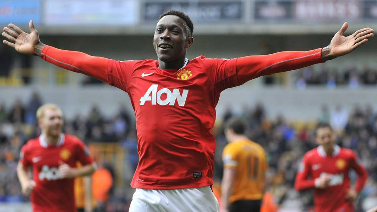 Manchester United's Danny Welbeck celebrates scoring against Wolverhampton Wanderers during their English Premier League soccer match at Molineux in Wolverhampton in central England.