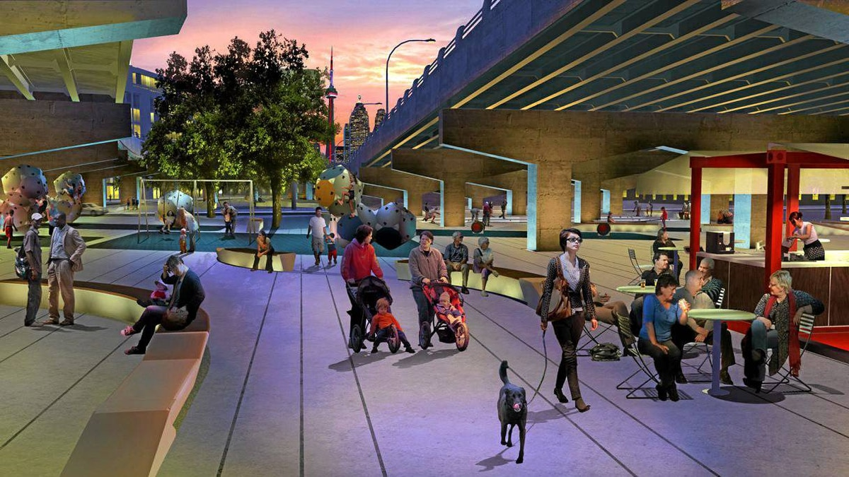 A rendering of the imagined Underpass Park