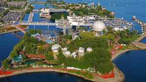 An aerial view of Ontario Place in Toronto.