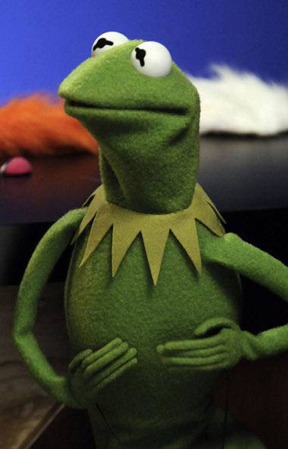 This photo taken Nov. 24, 2008 shows muppet Kermit the Frog making a television appearance in New York.