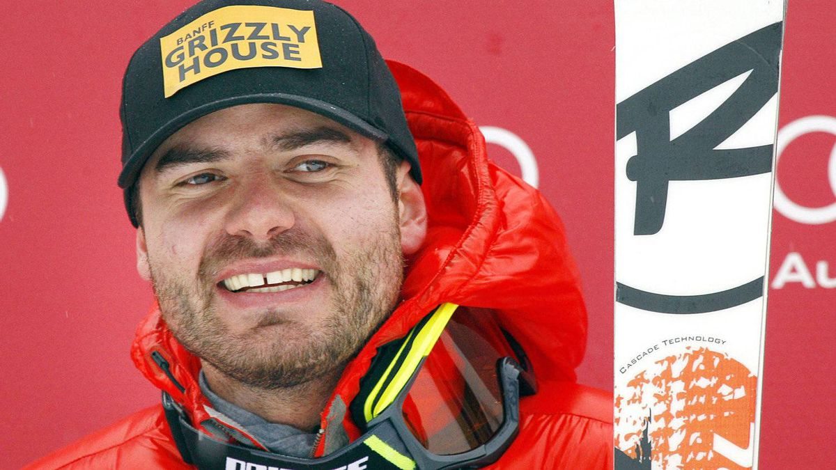 Jan Hudec, from Calgary, Alta., smiles form the podium after finishing fourth in the men's World Cup Super-G ski race in Lake Louise, Alta., Sunday, Nov. 27, 2011.THE CANADIAN PRESS/Jeff McIntosh