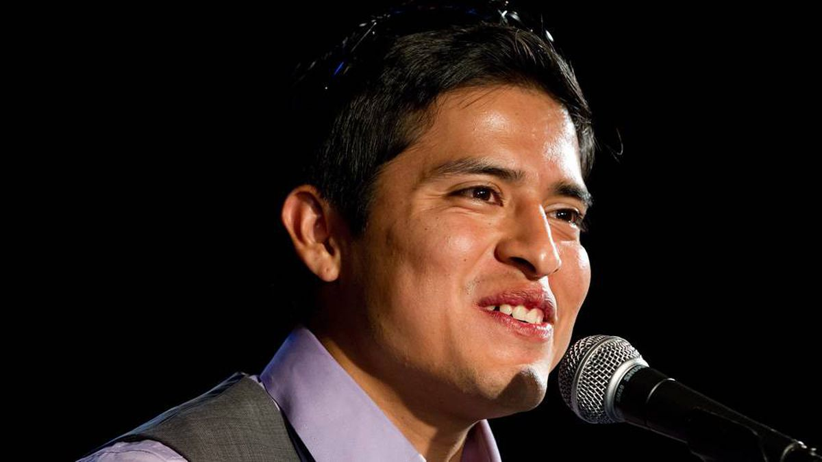 Kentucky Derby winning jockey Mario Gutierrez, of Mexico, laughs during a news conference before meeting fans at Hastings Racecourse in Vancouver, B.C., on Sunday May 13, 2012.
