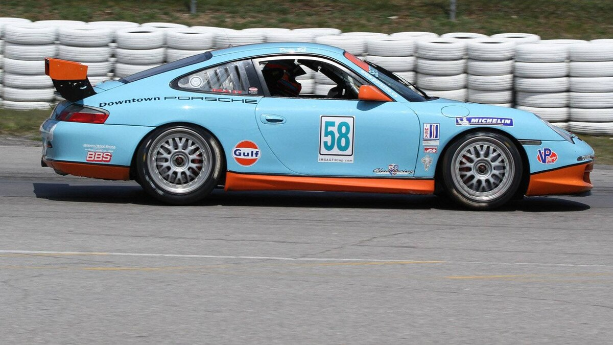 GT3 Cup cars use a much larger rear wing than the street-going Porsche model they're based on. The wing's angle can be adjusted to fine-tune the amount of downforce they generate.