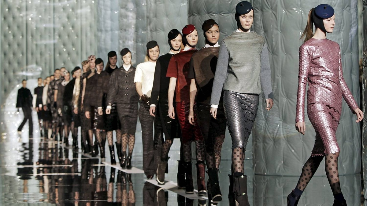Models parade down the runway at the conclusion of the Marc Jacobs Fall 2011 show during Fashion Week in New York, Monday, Feb. 14, 2011.