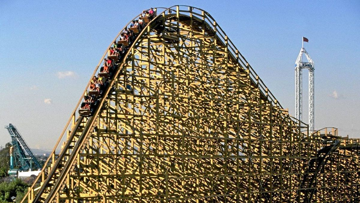 At Knott's Berry Farm I boosted my self-esteem on GhostRider, the monstrous wooden roller coaster.