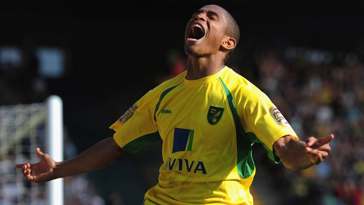 Simeon Jackson of Norwich City celebrates his winning goal during the npower Championship match between Norwich City and Derby County at Carrow Road on April 25, 2011 in Norwich, England.