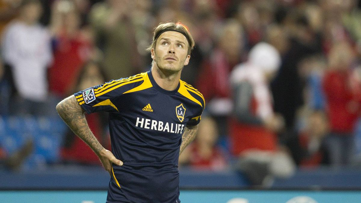 The L.A. Galaxy star stares toward the 45,000-person crowd at the Rogers Centre, Wednesday night.