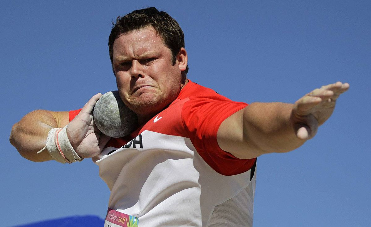 Canada's Dylan Armstrong competes in the men's shot put final at the Pan American Games in Guadalajara October 25, 2011. Armstrong won the gold medal.