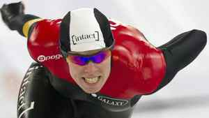 Christine Nesbitt from Canada races to place second in the 500m World Cup speedskating event in Hamar, Norway, Saturday Feb. 11, 2012. (AP Photo/Terje Bendiksby, Scanpix Norway)
