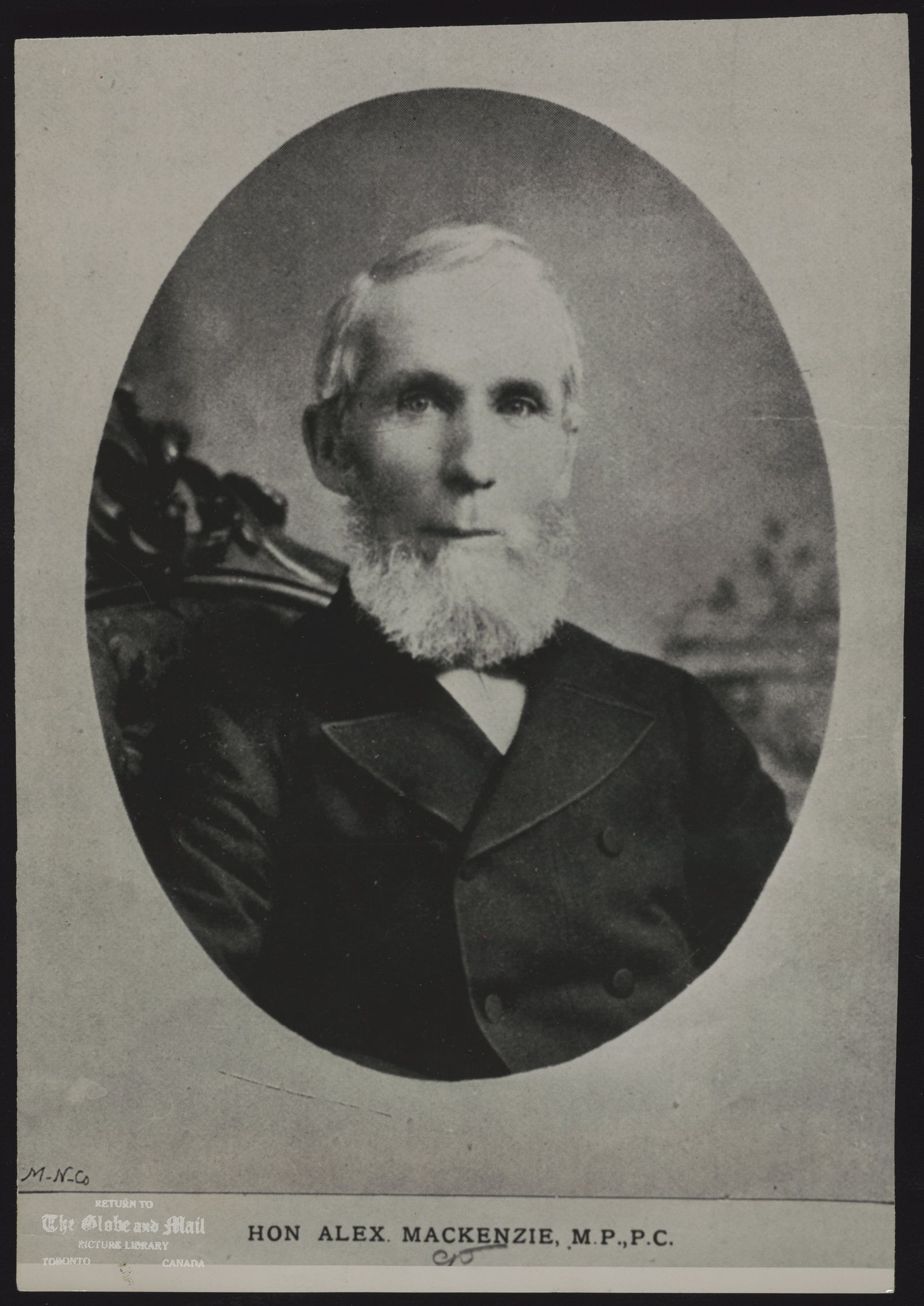 The notes transcribed from the back of this photograph are as follows: ALEXANDER MACKENZIE Historical Former Prime Minister of Canada HON ALEX MACKENZIE, M.P., P.C. circa 1875