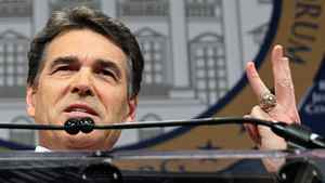 Republican presidential hopeful and Texas Governor Rick Perry speaks in Washington on Dec. 7, 2011.