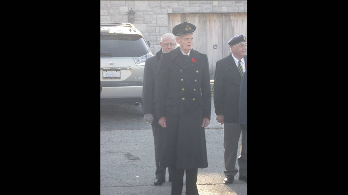 Helen Pettingill photo: Remembrance Day - This is my father, Tom Pettingill, 86, of Norval ON. He's wearing his old British navy uniform (which still fits after all those years). Methinks he looks mighty fine in it.