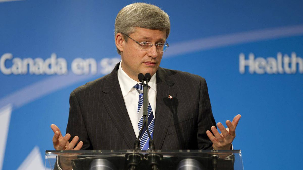 Prime Minister Stephen Harper speaks about cancer research at the MARS centre in Toronto on March 10, 2011.