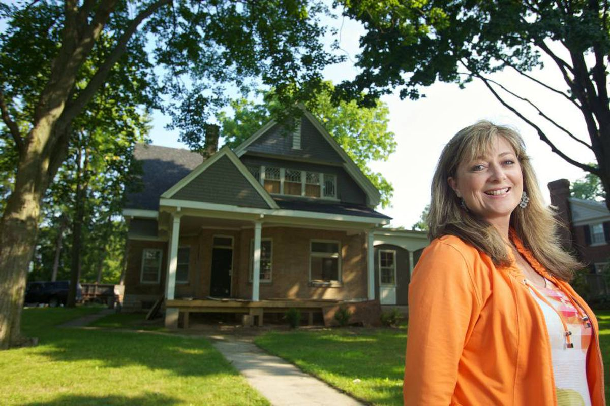Bonnie Pierotti outside the former Gamma Epsilon sorority house she has purchased and is restoring in London, Ont.