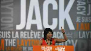MP Olivia Chow speaks to supporters during a tribute to Jack Layton at the NDP leadership convention at the Metro Toronto Convention Centre in Toronto, Ont. Friday, March 23, 2012.