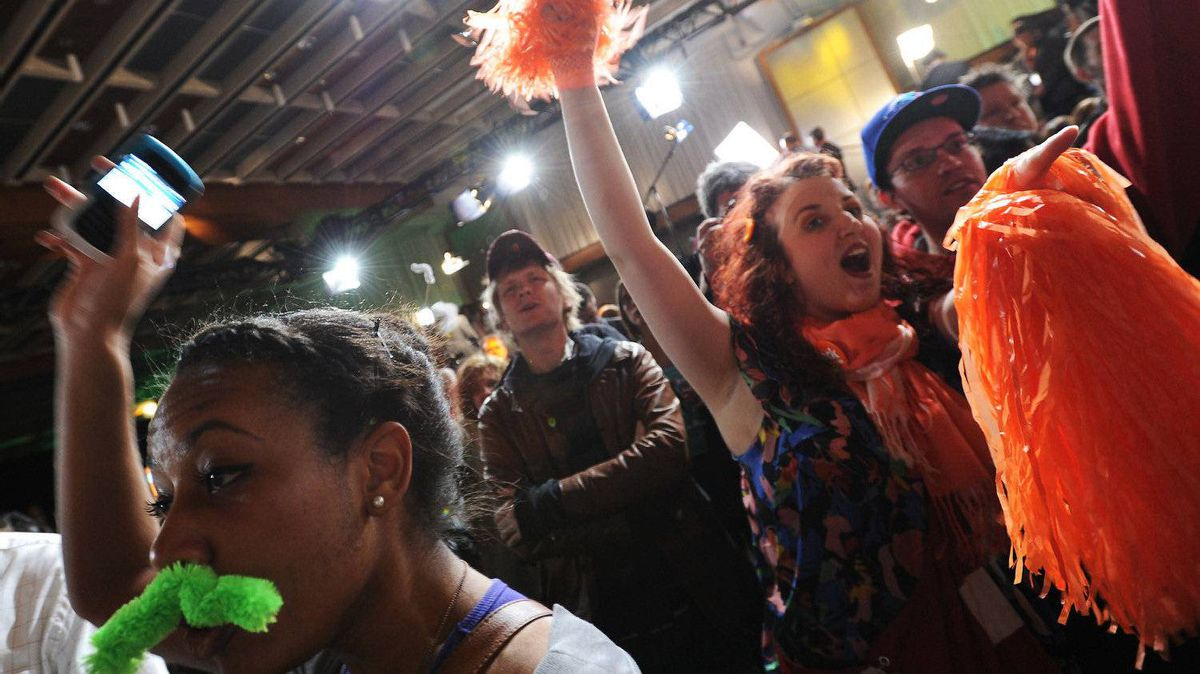Supporters of the New Democratic Party celebrate at Jack Layton's election day venue in Toronto, Ont. May 2/2011.