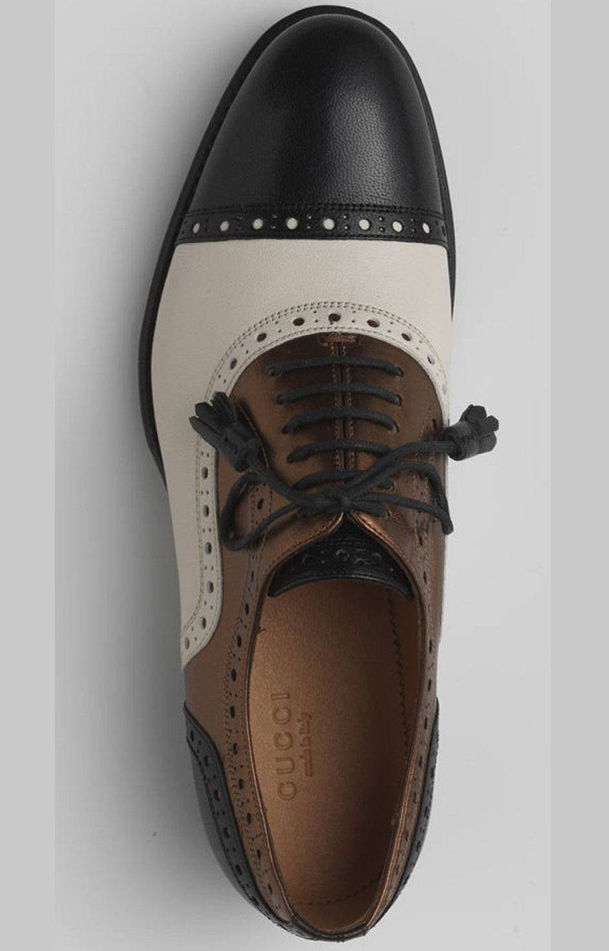 Women's leather and silk spectators by Gucci, $675 at Holt Renfrew (www.holtrenfew.com)