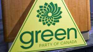 A Green Party sign sits at the foot of a podium in Vancouver on March 30, 2011, before leader Elizabeth May discusses her exclusion from the televised election debates.