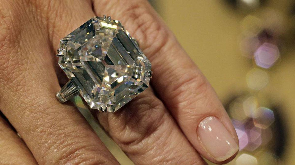 The Elizabeth Taylor Diamond, a 33.19-carat gift from Richard Burton, estimated at $2,500,000 to $3,500,000.