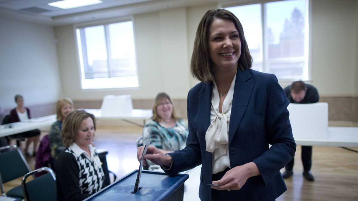 Danielle Smith, leader of the Wildrose party casts her ballot on election day in her ridding of High River April 23, 2012.