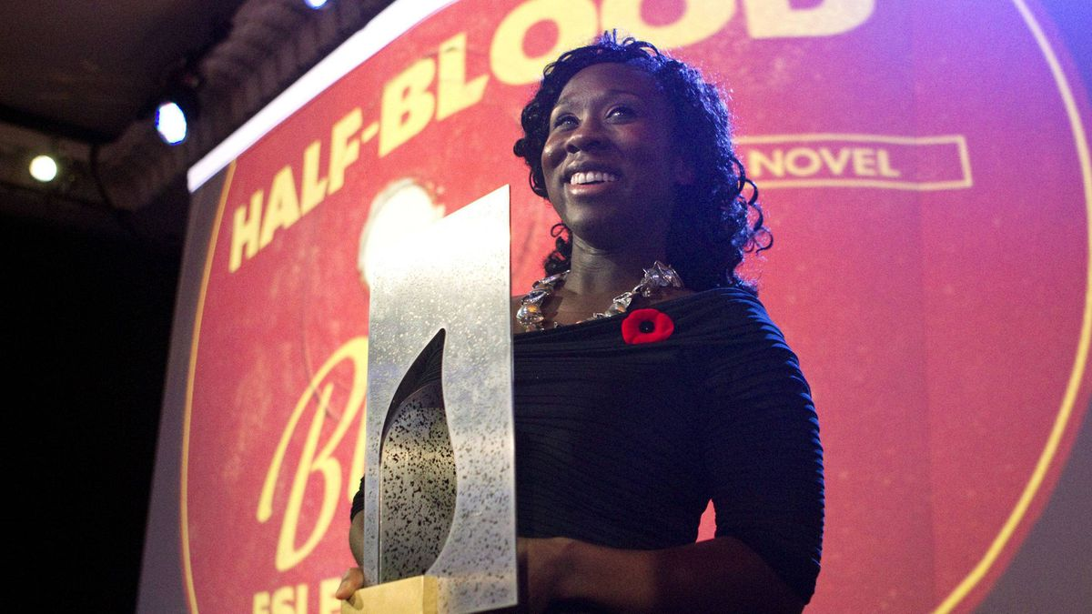 Esi Edugyan accepts the Scotiabank Giller Prize for her book Half-Blood Blues in Toronto on Tuesday.