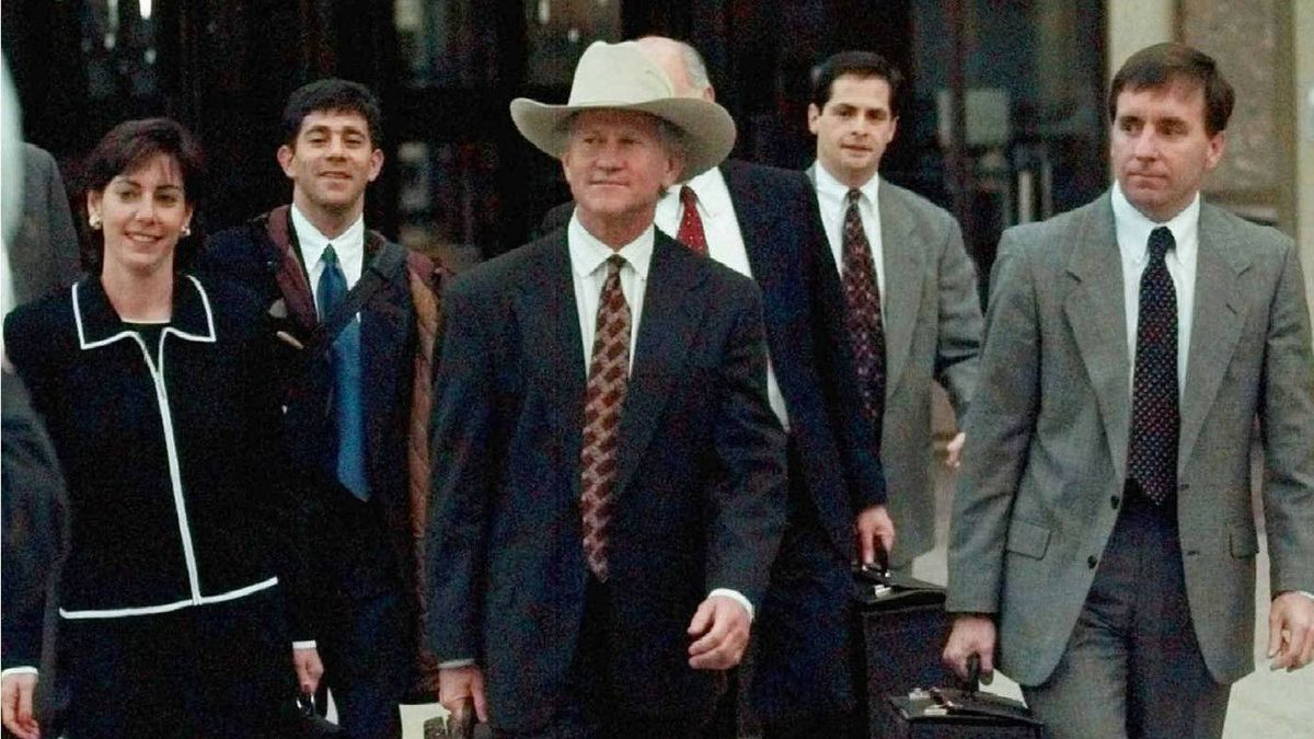 From left, U.S. Attorneys Beth Wilkinson, Patrick Ryan, and Sean Connelly lead the prosecution team from the federal courthouse in Denver, Thursday evening, April 3, 1997, during jury selection for the trial of Oklahoma City bomber Timothy McVeigh. The FTC has hired Ms. Wilkinson for its Google probe, with little antitrust experience but a long record of victory, Ms.Wilkinson has built a reputation as a tough litigator.