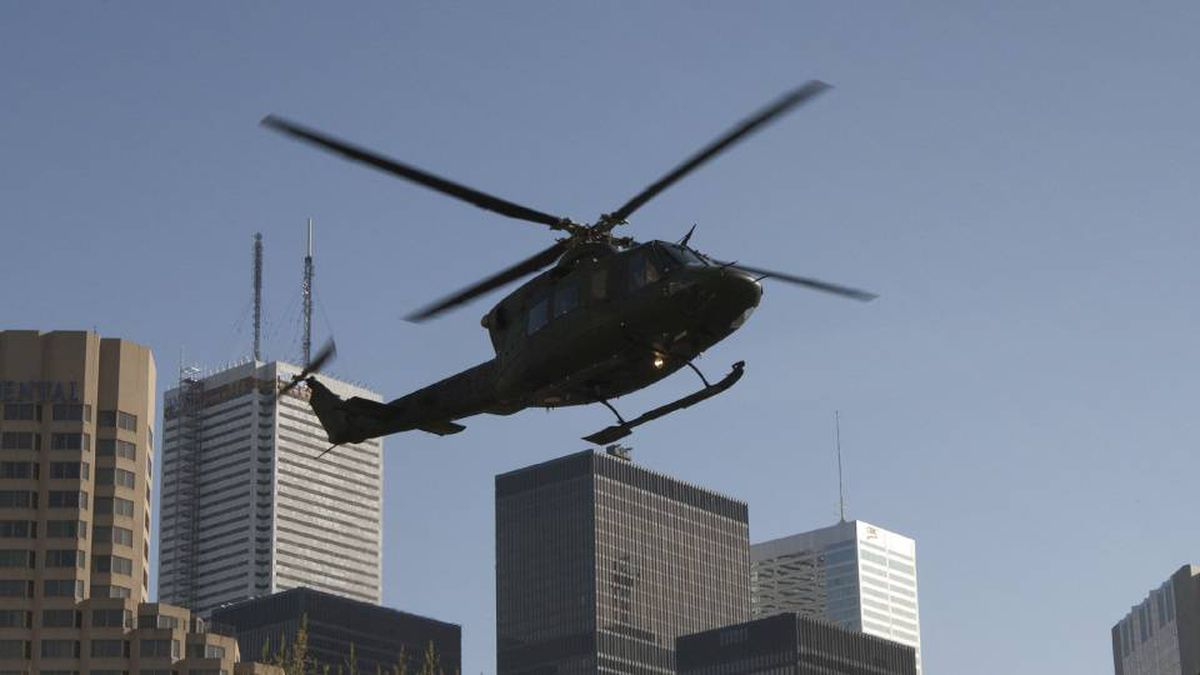 A military helicopter in Toronto during security training in April for the upcoming G20 summit.