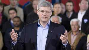 Conservative leader Stephen Harper delivers his campaign speech during a campaign stop in Richmond Hill, Ont. on Saturday April 30, 2011.