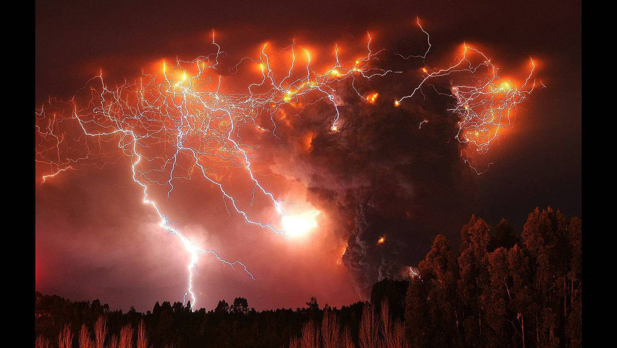 Lightning strikes over the Puyehue volcano, over 800 km south of Santiago, Chile June 6, 2011.