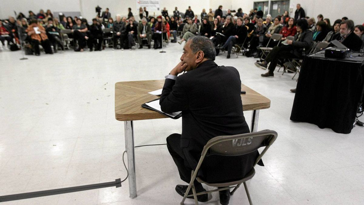 Commissioner Wally Oppal listens to presentations during the Missing Women Commission of Inquiry public forum in Vancouver, B.C., on Jan. 19, 2011.