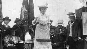 Rosa Luxemburg addressing a crowd in Stuttgart