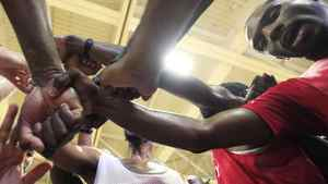 Prospects put their hands together and cheer during the training camp at Humber College Lakeshore Campus in preparation for the National Basketball League of Canada's draft this weekend in Toronto, Ont., on August 16, 2011. (Michelle Siu / The Globe and Mail)
