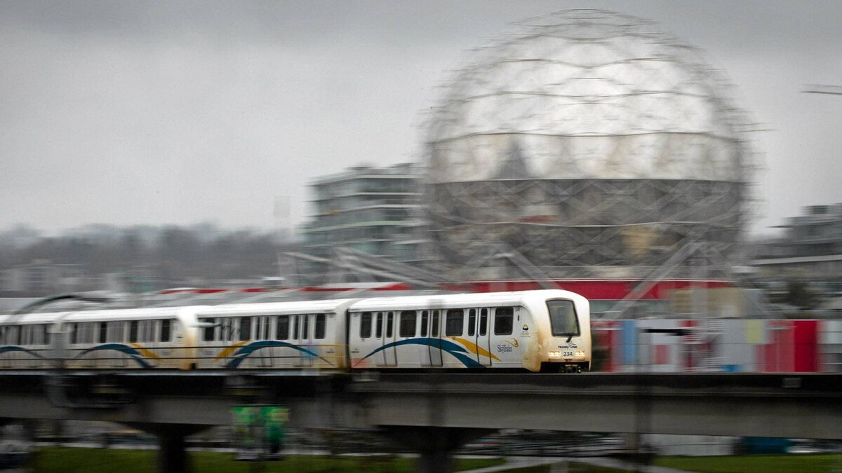 A SkyTrain commuter train travels into downtown Vancouver, B.C., on Wednesday April 11, 2012.